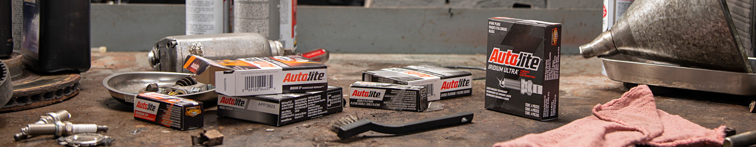 Workbench with Autolite packaging displayed